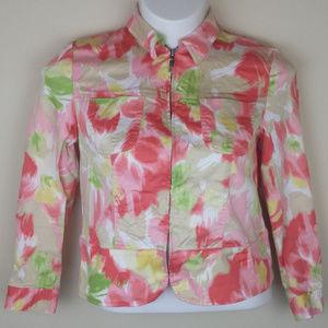floral pastel zip jacket blazer size 8 A35